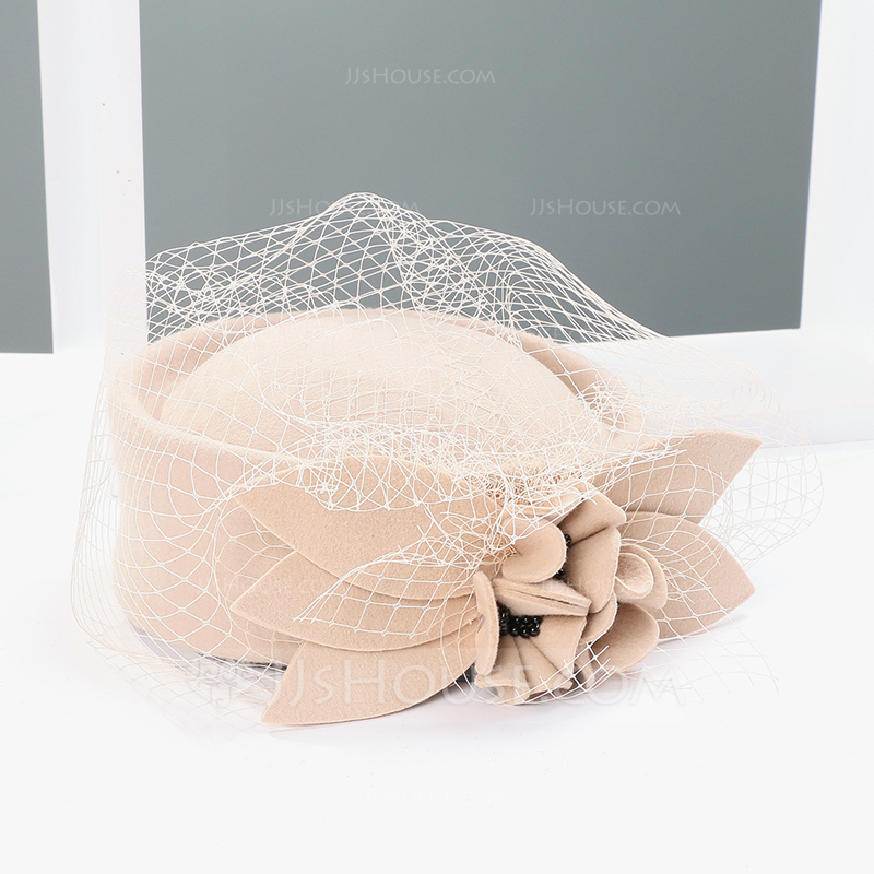 b50a6d9d5d596 Ladies  Lovely Wool With Tulle Fascinators Tea Party Hats (196075340 ...