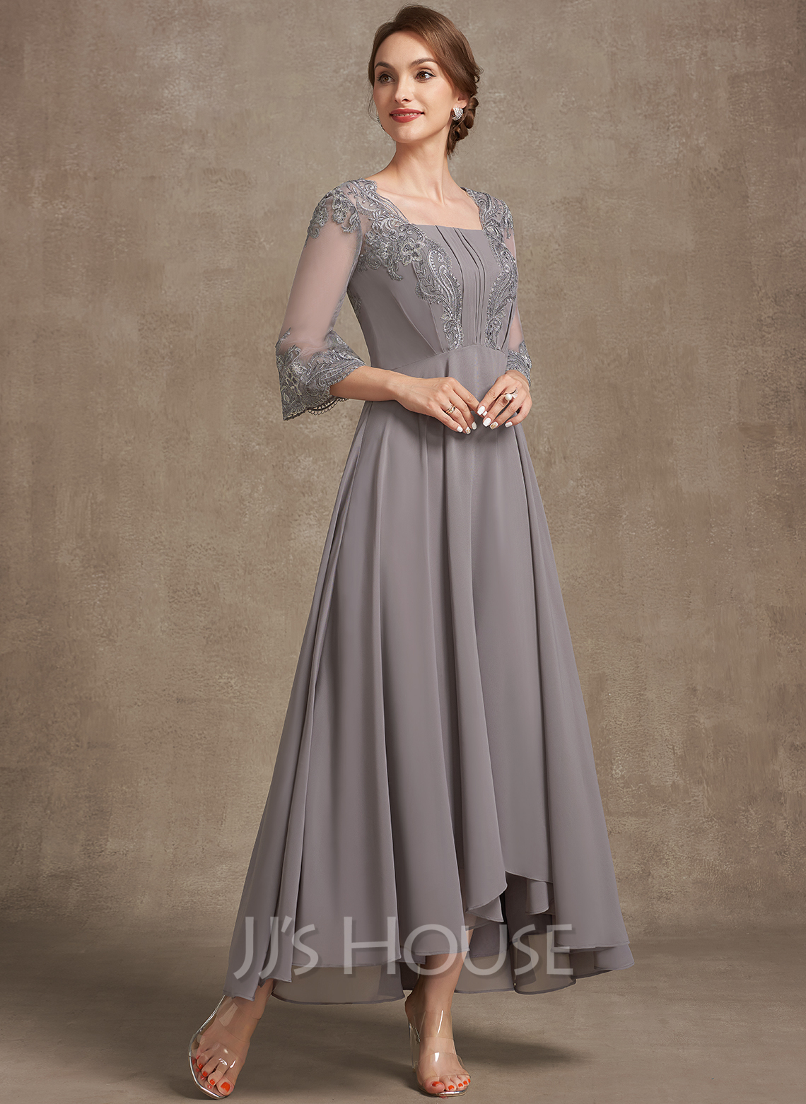 A-Line Square Neckline Asymmetrical Chiffon Lace Mother of the Bride Dress With Ruffle