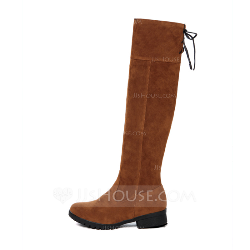 52252f108bd Women s Suede Low Heel Closed Toe Boots Knee High Boots With Bowknot shoes.  Loading zoom