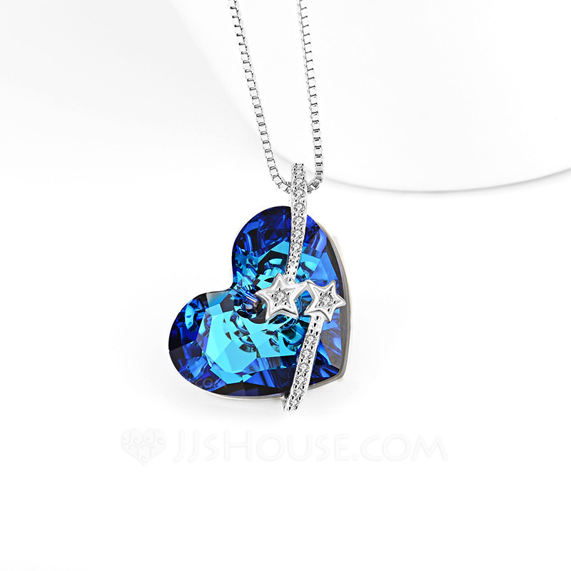 Ladies' Charming Crystal With Heart Necklaces For Bridesmaid/For Friends