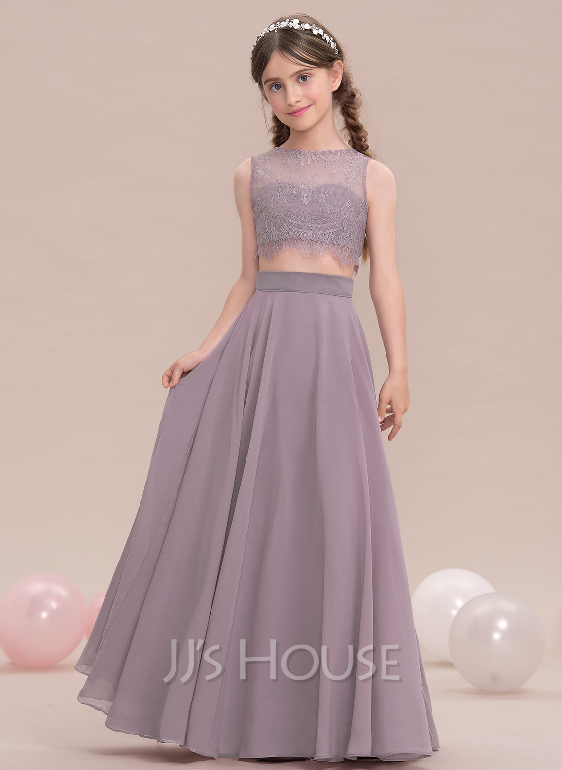 A Line Princess Scoop Neck Floor Length Chiffon Junior Bridesmaid Dress Loading Zoom