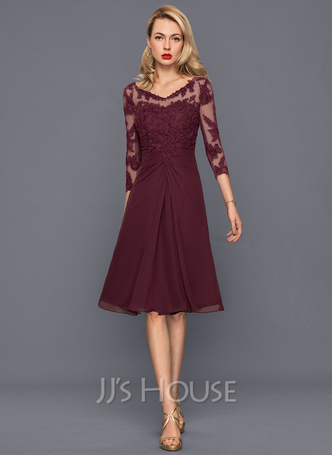 c1fc35f6a54f A-Line Princess V-neck Knee-Length Chiffon Cocktail Dress With Ruffle.  Loading zoom