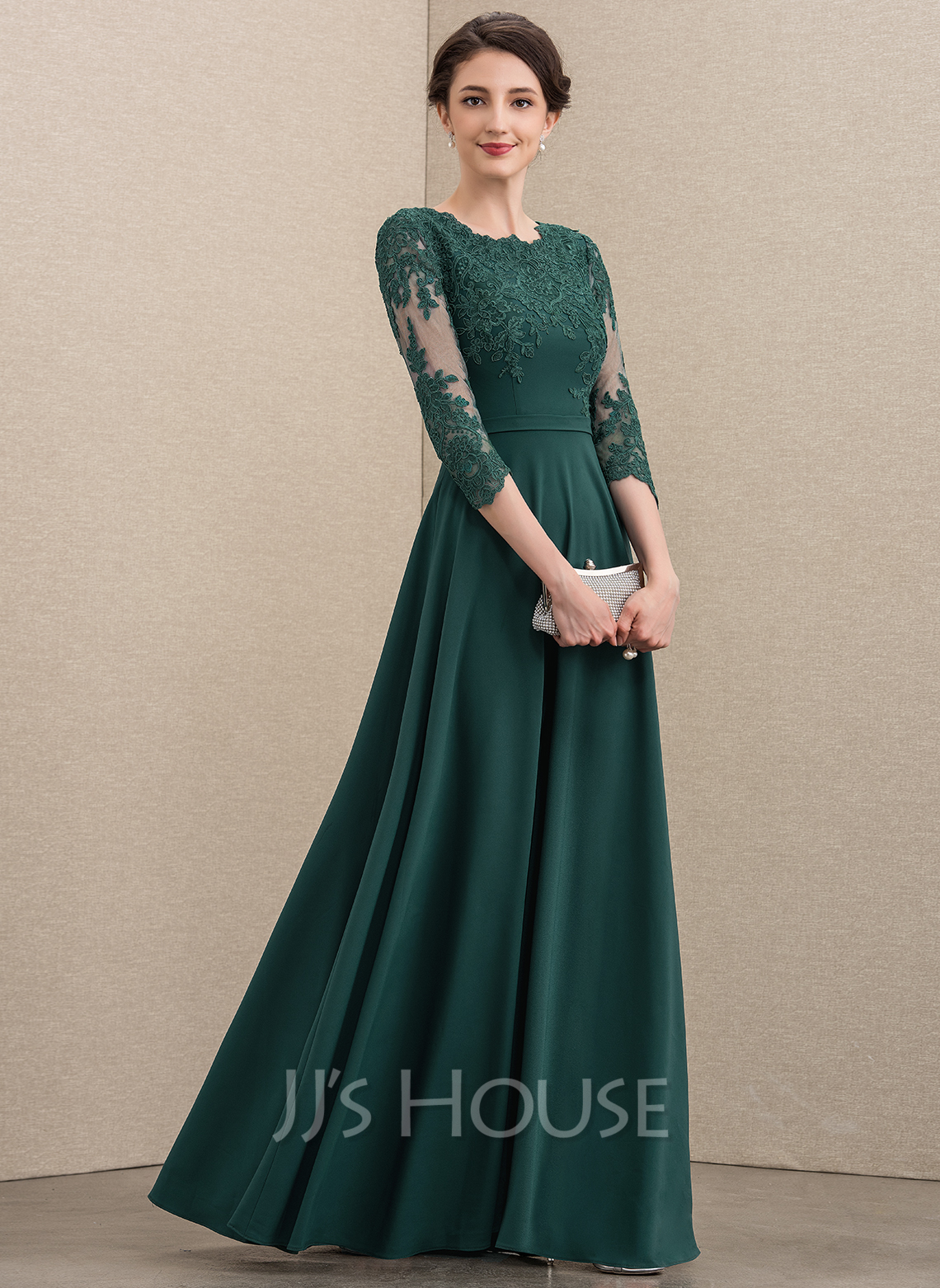 Scoop Neck Floor-Length Lace Stretch Crepe Mother of the Bride Dress