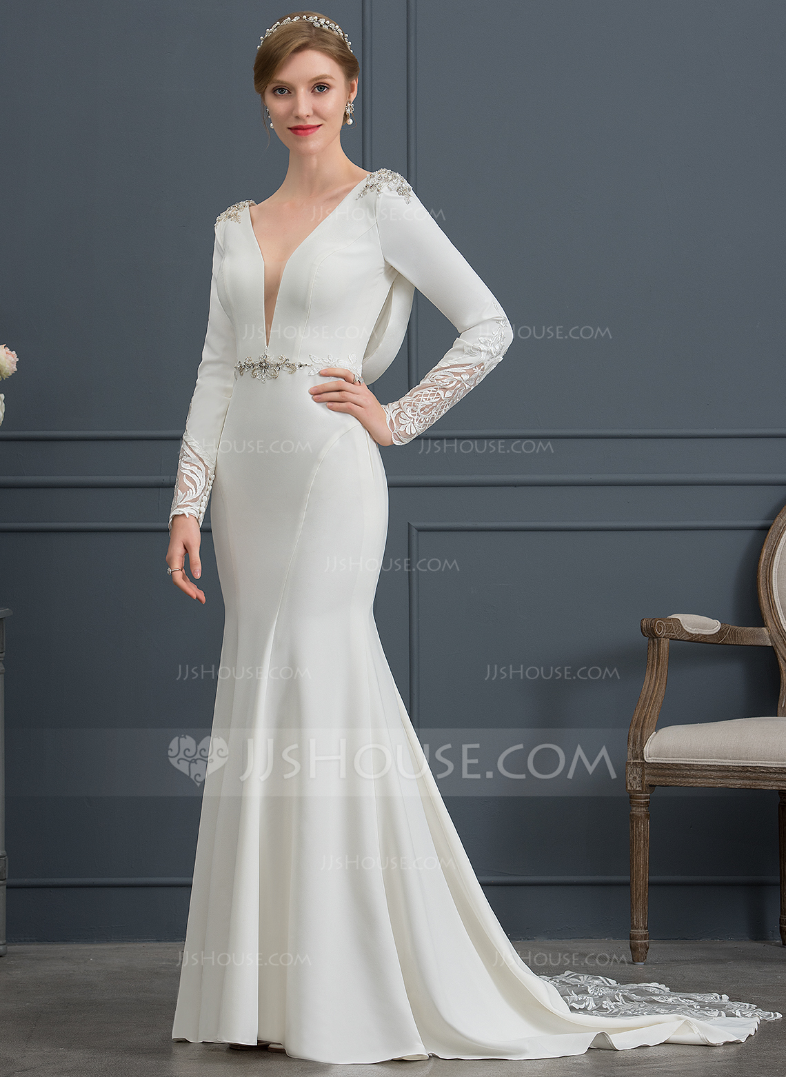 0ab8c2ced20b Trumpet/Mermaid V-neck Court Train Stretch Crepe Wedding Dress With Lace  Beading Sequins. Loading zoom