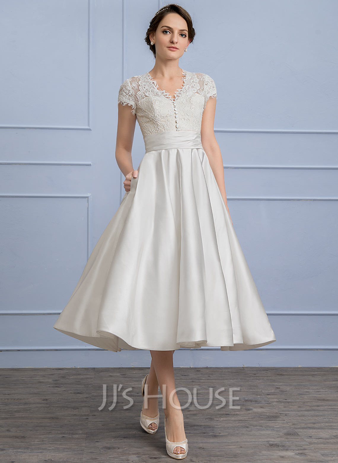 A Line Princess V Neck Tea Length Satin Wedding Dress With Ruffle Loading Zoom