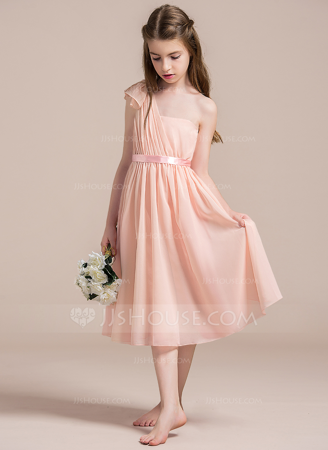 One-Shoulder Tea-Length Chiffon Junior Bridesmaid Dress With Ruffle Bow(s)