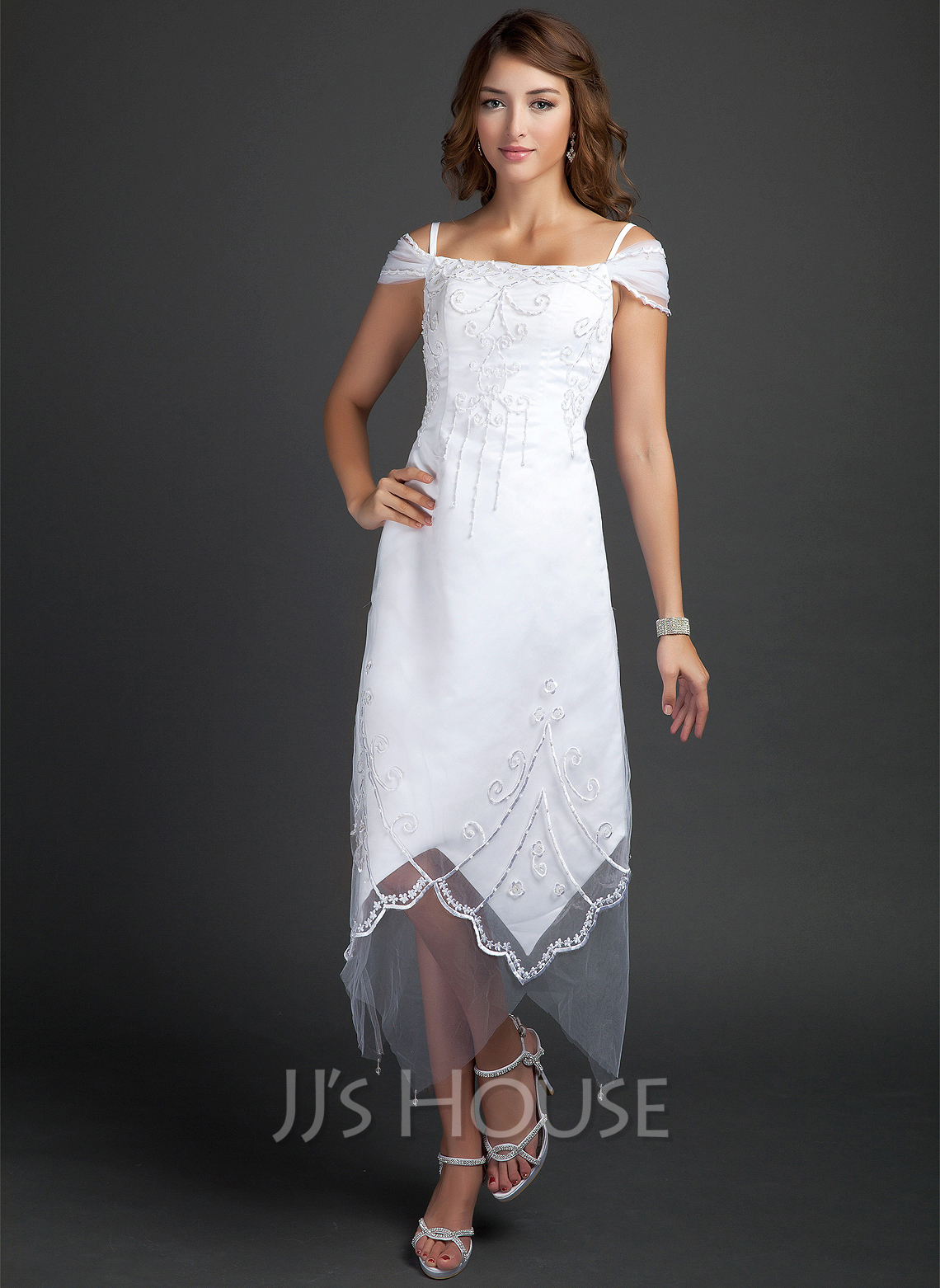Off-the-Shoulder Tea-Length Satin Wedding Dress With Beading