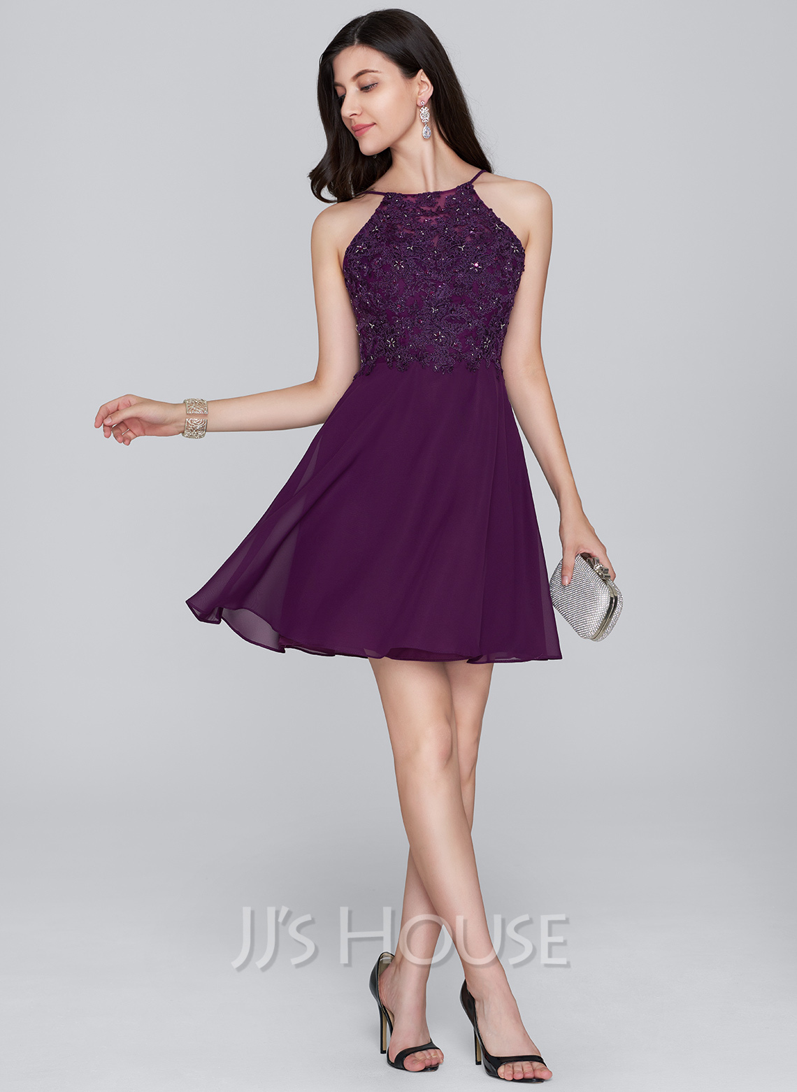 Scoop Neck Short/Mini Chiffon Cocktail Dress With Beading Sequins