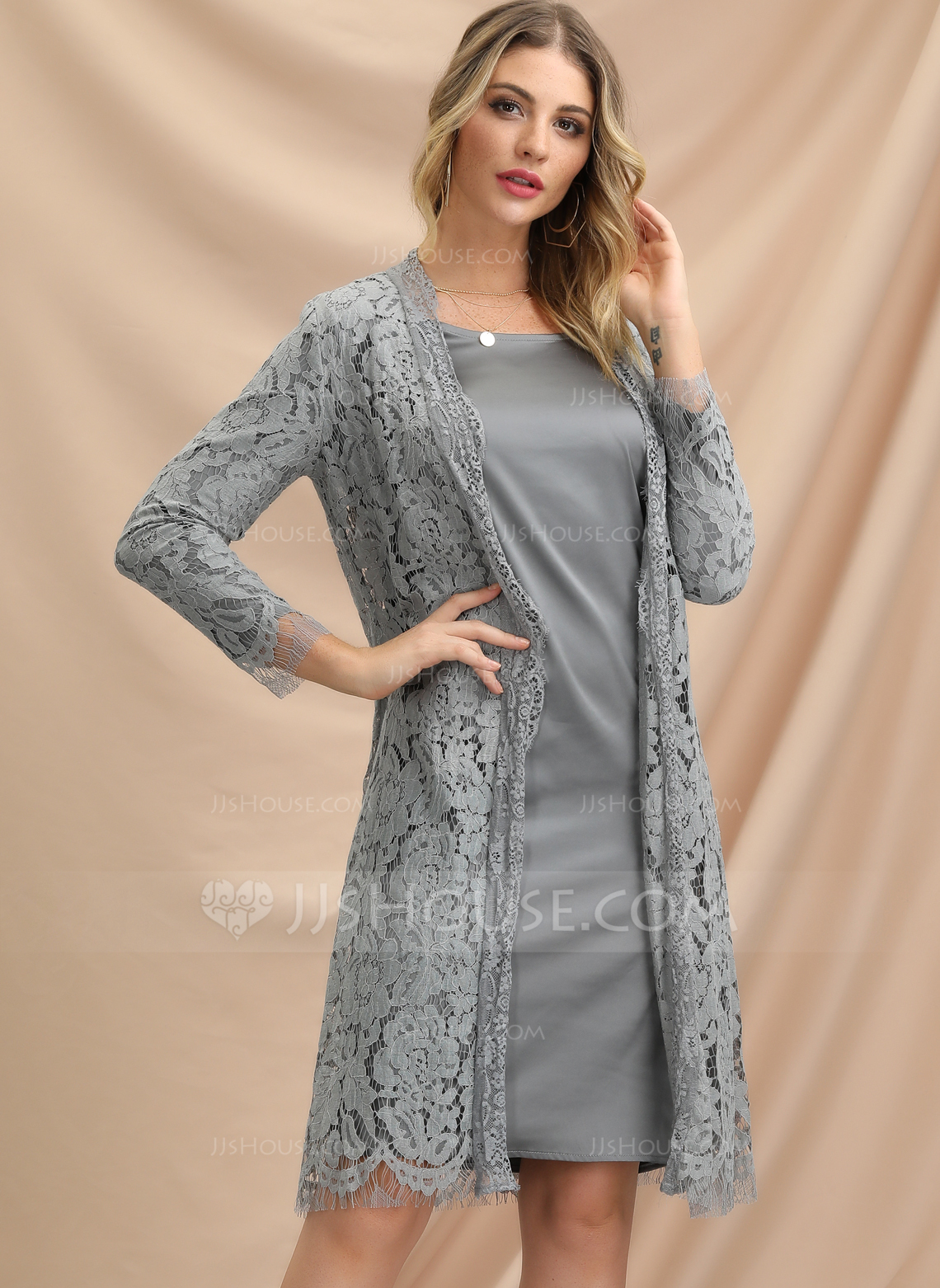 Polyester/Lace With Lace/Solid Knee Length Dress (Two Pieces)