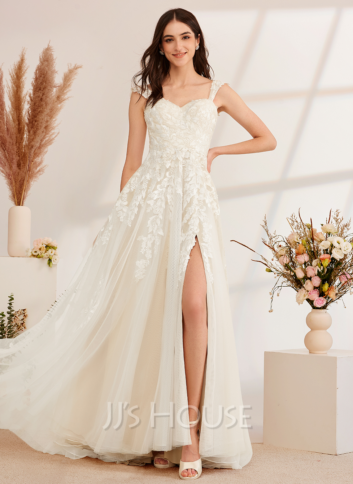 A-Line Off-the-Shoulder Sweep Train Wedding Dress With Beading Sequins