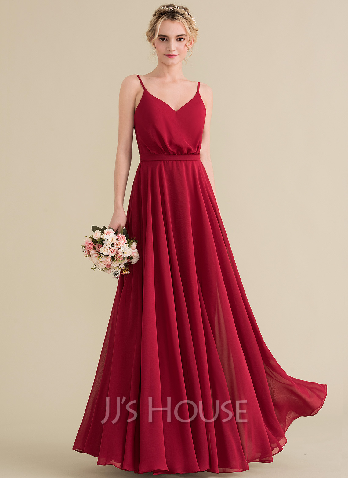 A Line Princess V Neck Floor Length Chiffon Bridesmaid Dress With Bow Loading Zoom