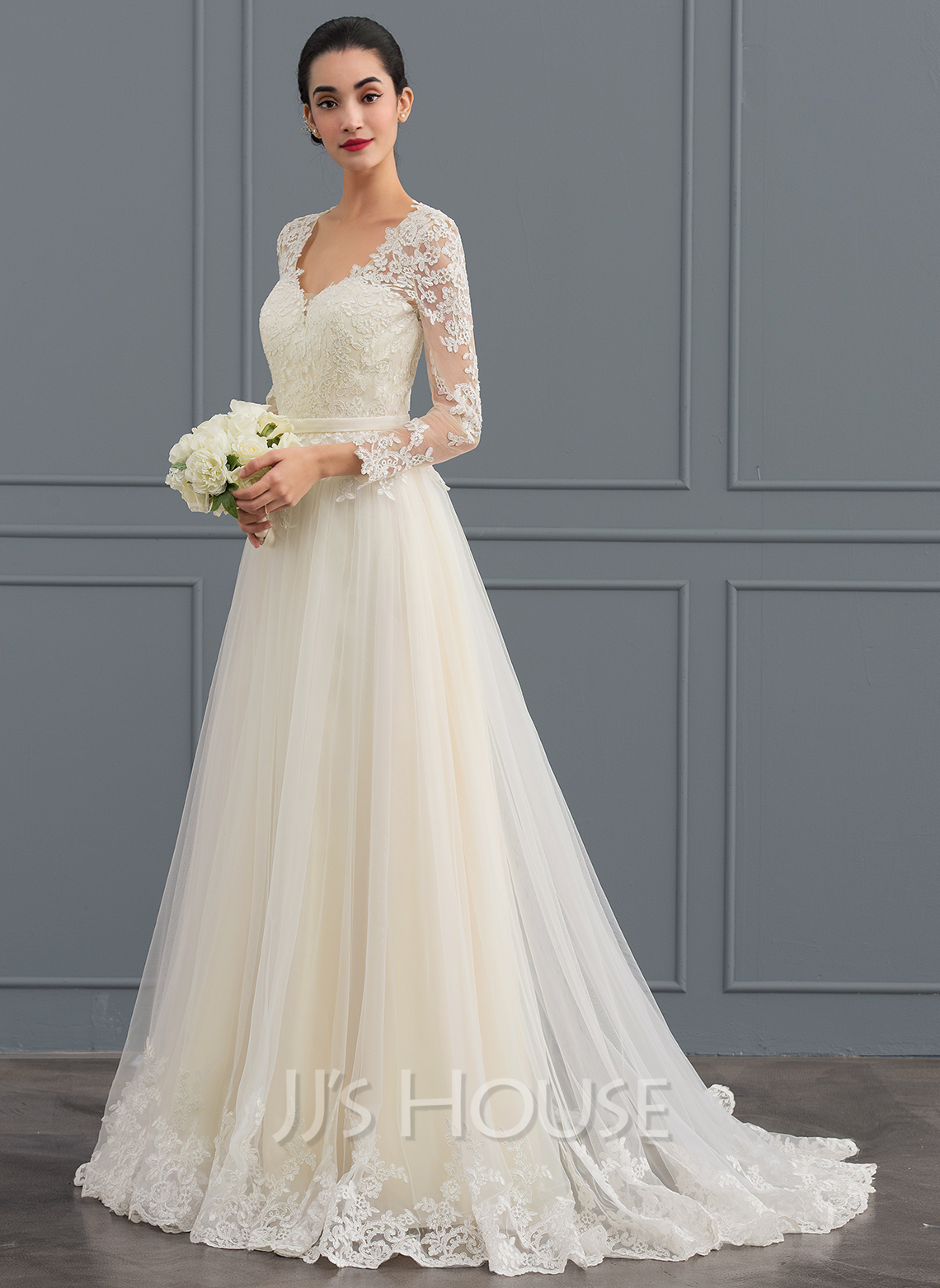 Ball gown v neck sweep train tulle wedding dress for Wedding dresses sale online