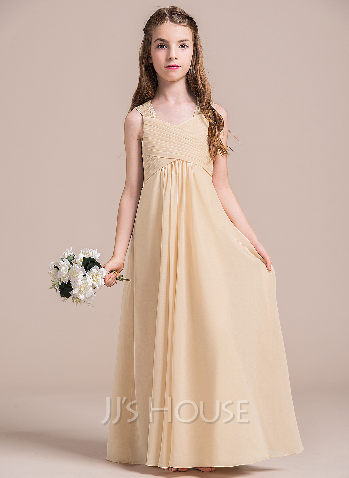 Empire V-neck Floor-Length Chiffon Junior Bridesmaid Dress With Ruffle Lace