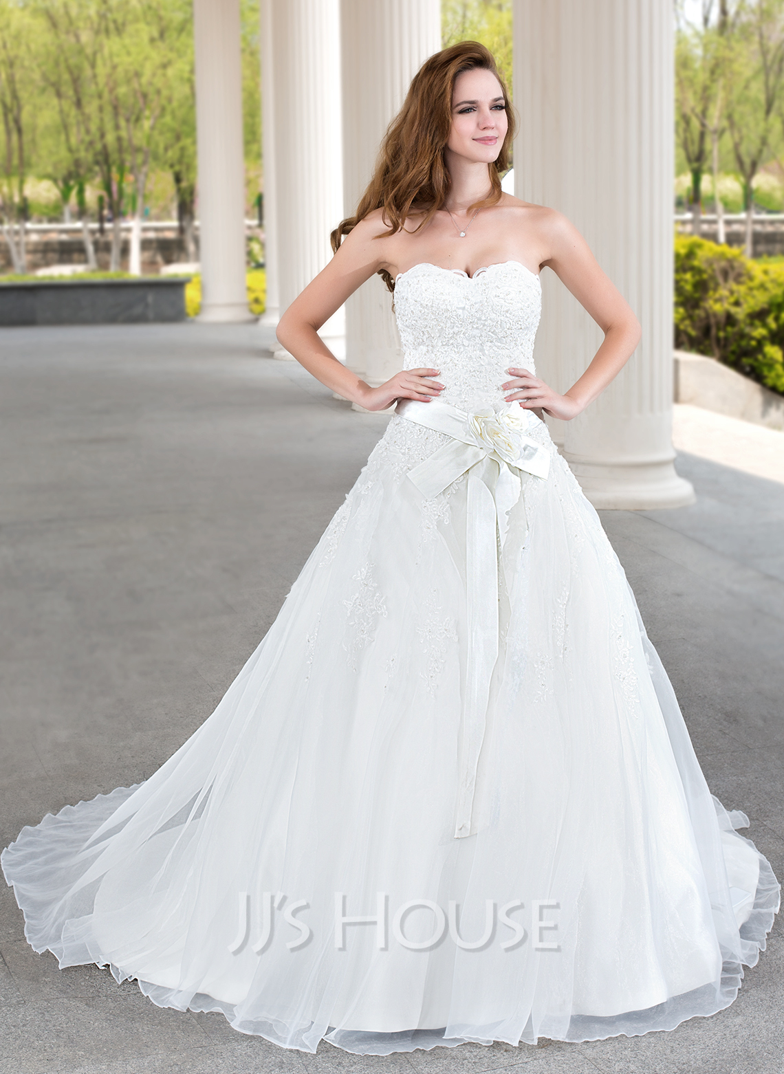 Ball gown sweetheart court train satin organza lace for Www jjshouse com wedding dresses