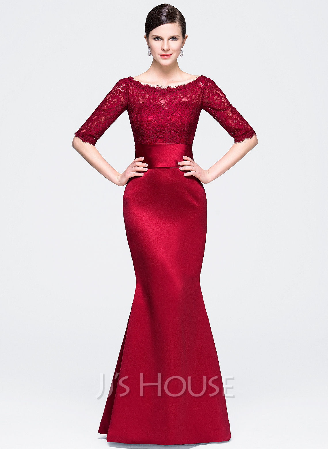 46736024280 Trumpet Mermaid Scoop Neck Floor-Length Satin Lace Evening Dress. Loading  zoom