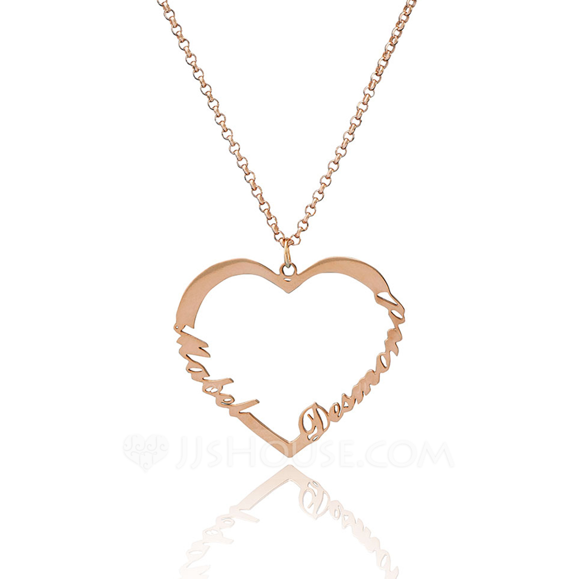 Custom 18k Rose Gold Plated Silver Heart Two Name Necklace - Birthday Gifts Mother's Day Gifts