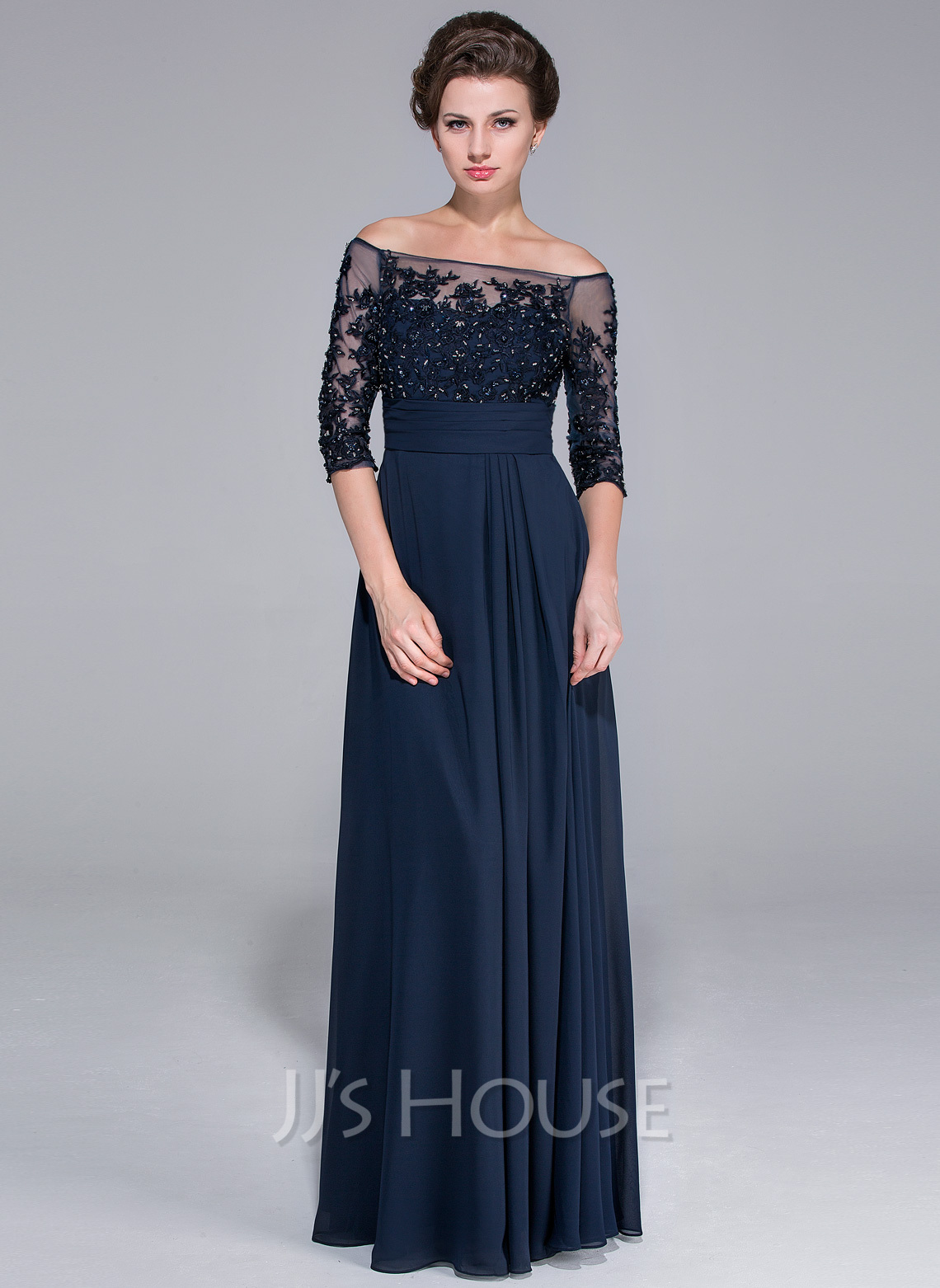 A Line Off The Shoulder Floor Length Chiffon Mother Of The