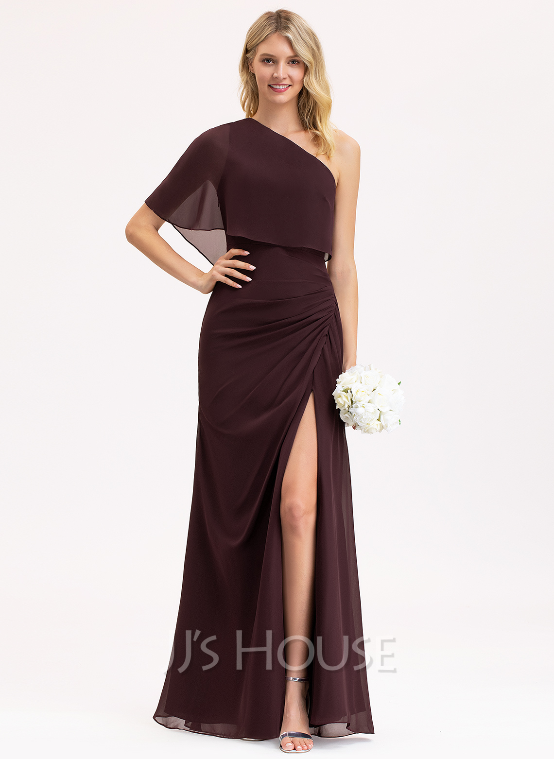 One-Shoulder Floor-Length Chiffon Bridesmaid Dress With Ruffle Split Front