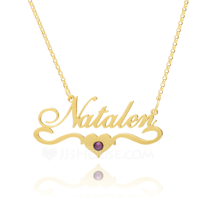 Custom 18k Gold Plated Silver Name Birthstone Necklace Nameplate With Kids Names - Birthday Gifts Mother's Day Gifts