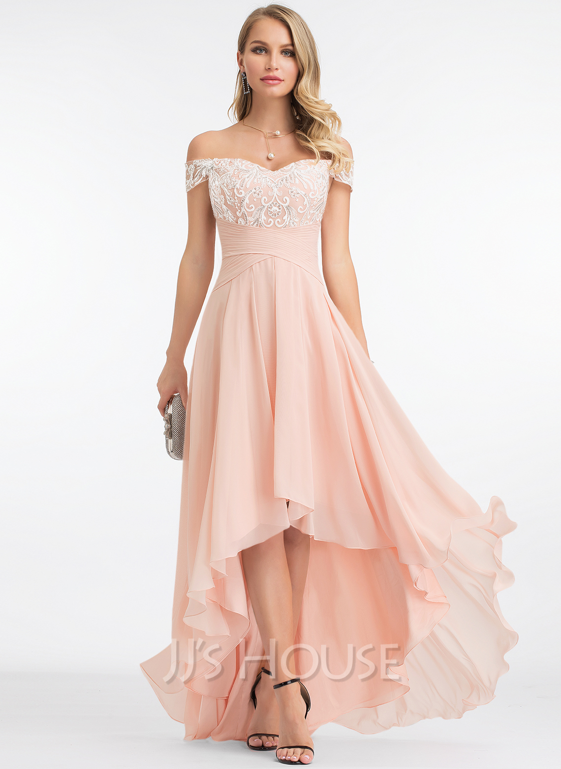 A-Line Off-the-Shoulder Asymmetrical Chiffon Wedding Dress With Sequins