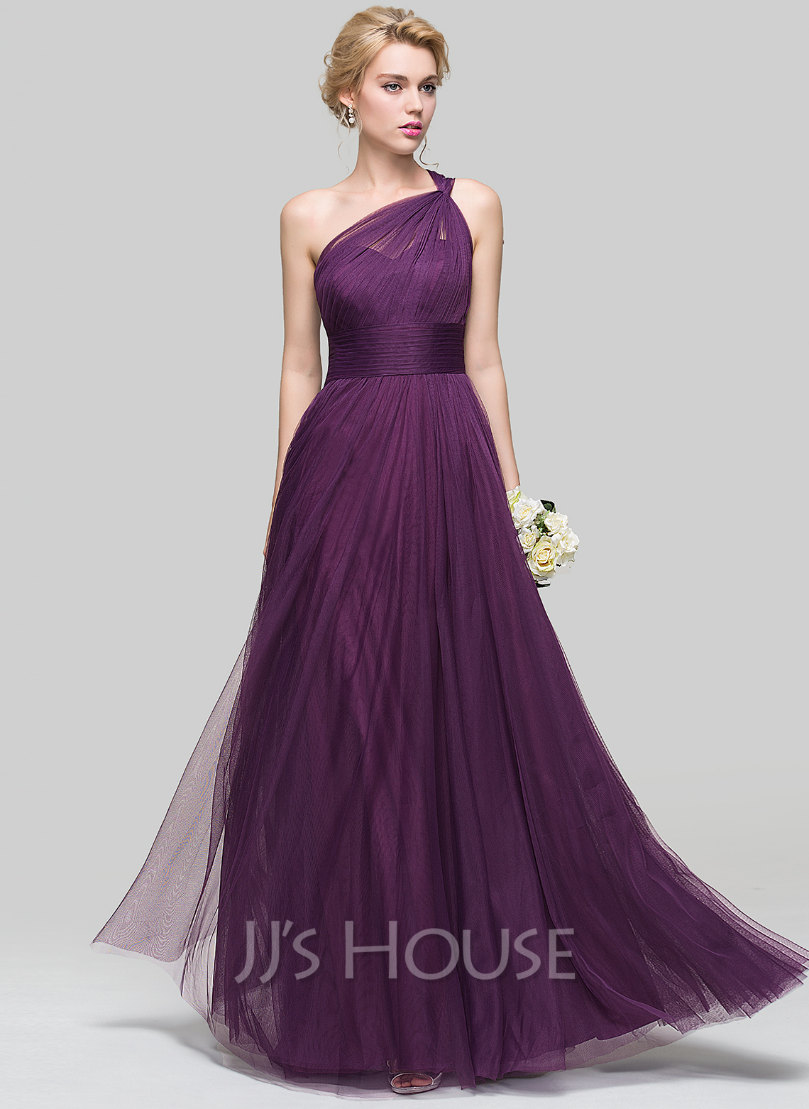 A Line Princess One Shoulder Floor Length Tulle Bridesmaid