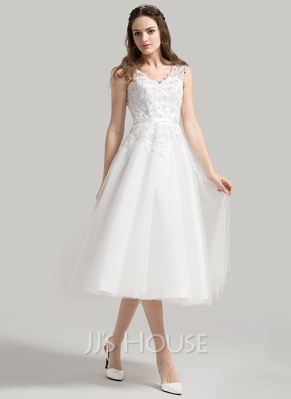 A-Line/Princess V-neck Tea-Length Tulle Wedding Dress With Beading ...