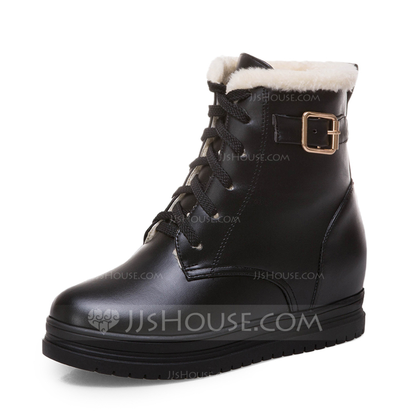 Women's Leatherette Flat Heel Platform Boots Snow Boots With Lace-up shoes