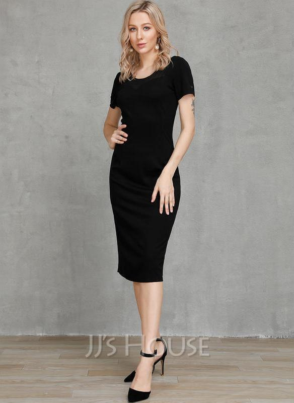 Sheath/Column Scoop Neck Knee-Length Cotton Cocktail Dress