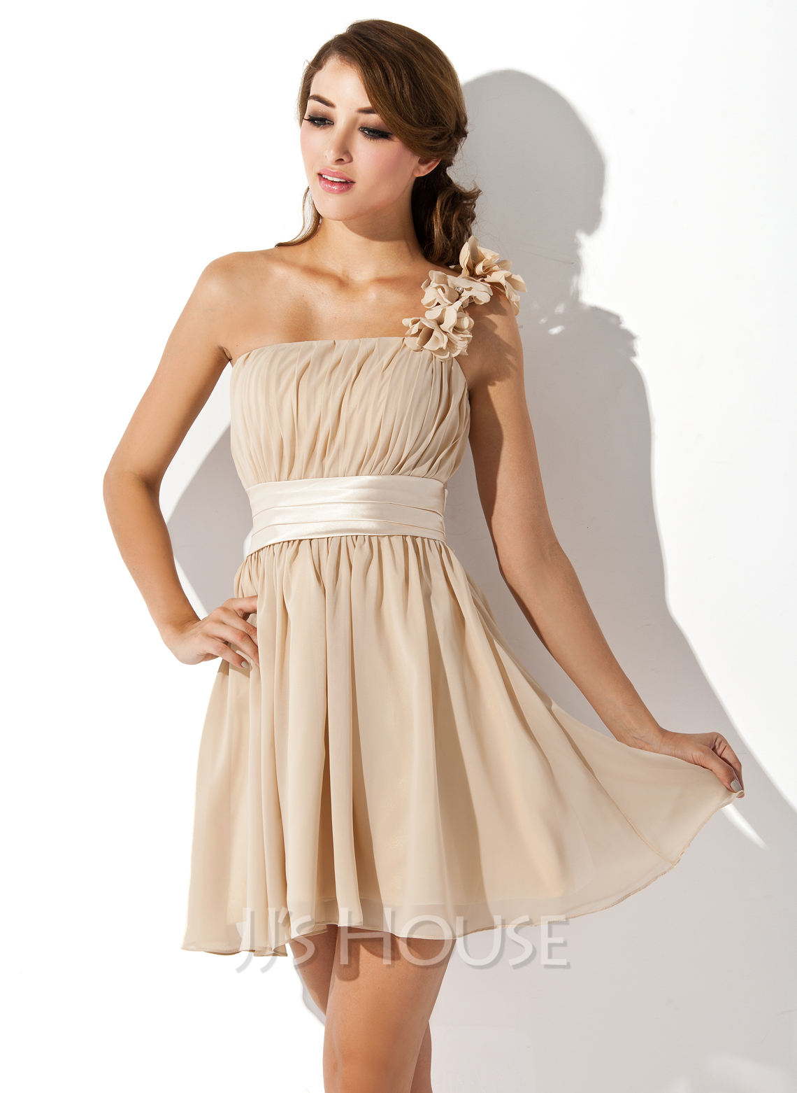 A-Line/Princess One-Shoulder Short/Mini Chiffon Bridesmaid Dress With Ruffle Flower(s) Bow(s)
