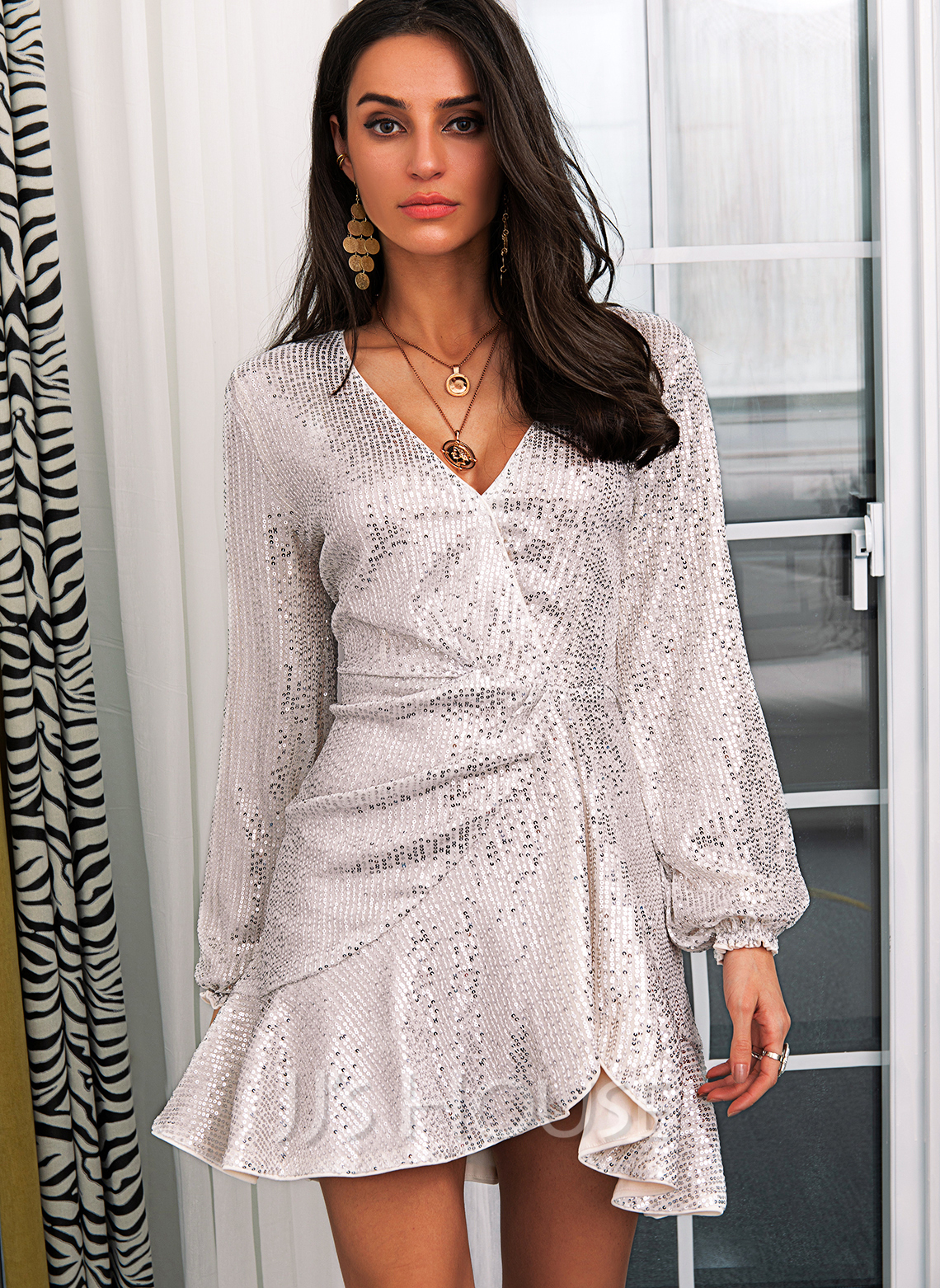 Sequins Solid Sheath V-Neck Long Sleeves Midi Party Dresses