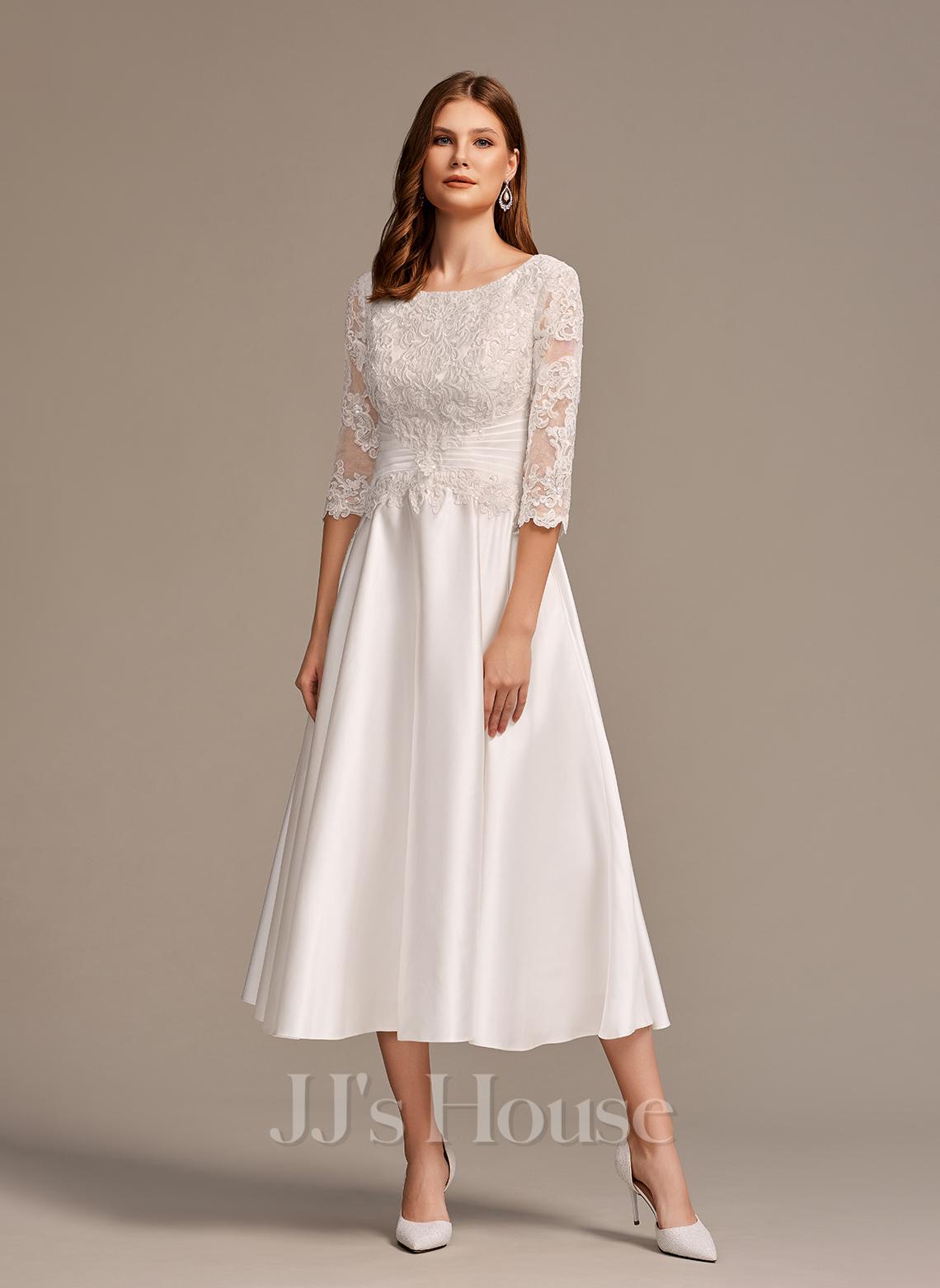 A-Line Scoop Neck Tea-Length Wedding Dress With Pockets