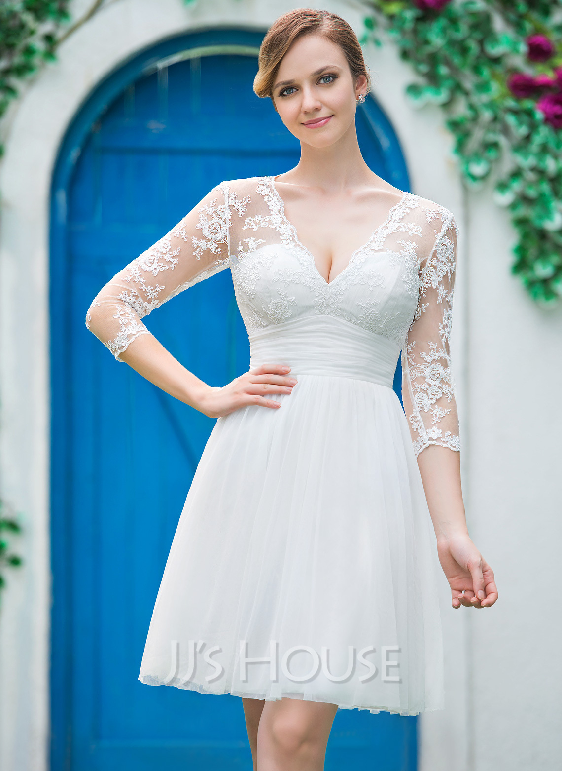 V-neck Knee-Length Tulle Lace Wedding Dress With Ruffle Bow(s)