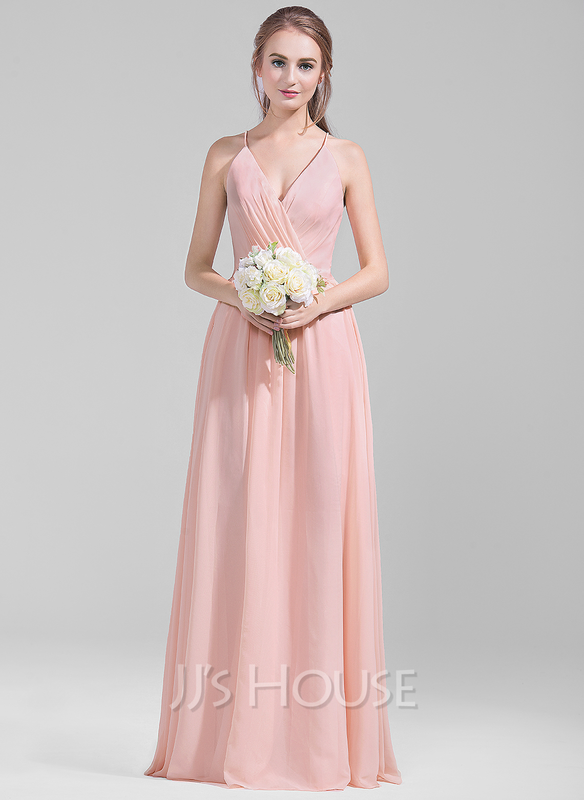 V-Neck a Line Chiffon Bridesmaid Dress