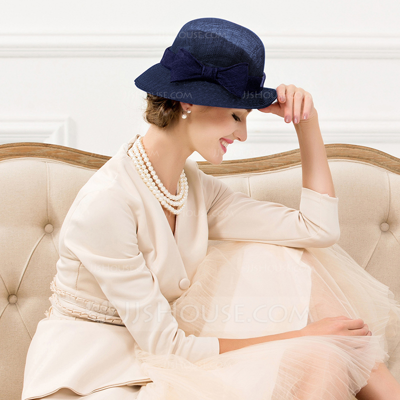 Ladies' Elegant Rattan Straw With Bowknot Bowler/Cloche Hats