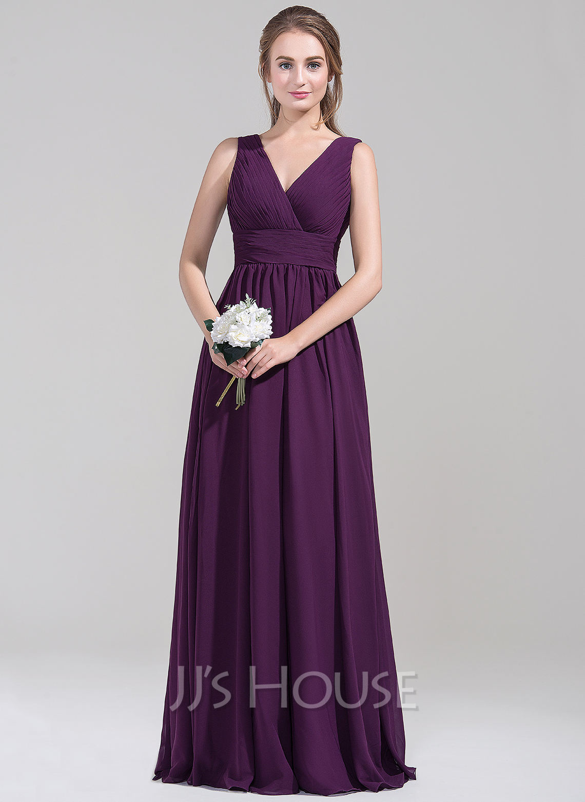 Empire V-neck Floor-Length Chiffon Bridesmaid Dress With Ruffle ...