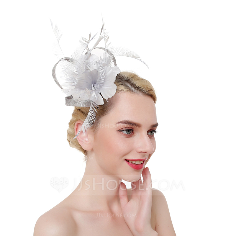 Ladies' Eye-catching/Charming/Romantic Cambric/Feather With Feather Fascinators/Kentucky Derby Hats