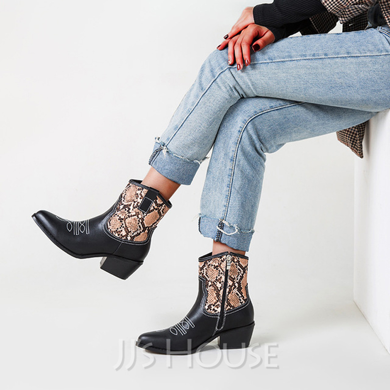 Women's Leatherette Chunky Heel Ankle Boots Pointed Toe With Animal Print Zipper shoes