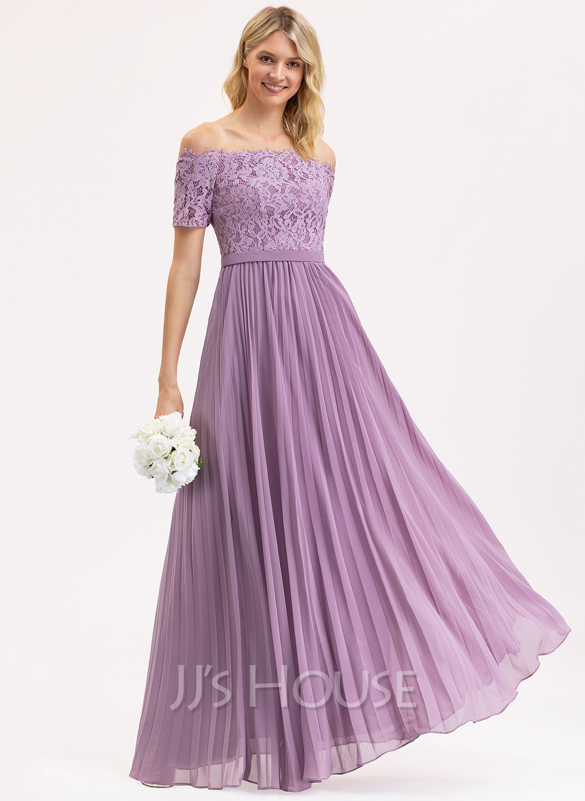 Off-the-Shoulder Floor-Length Chiffon Lace Bridesmaid Dress With Pleated
