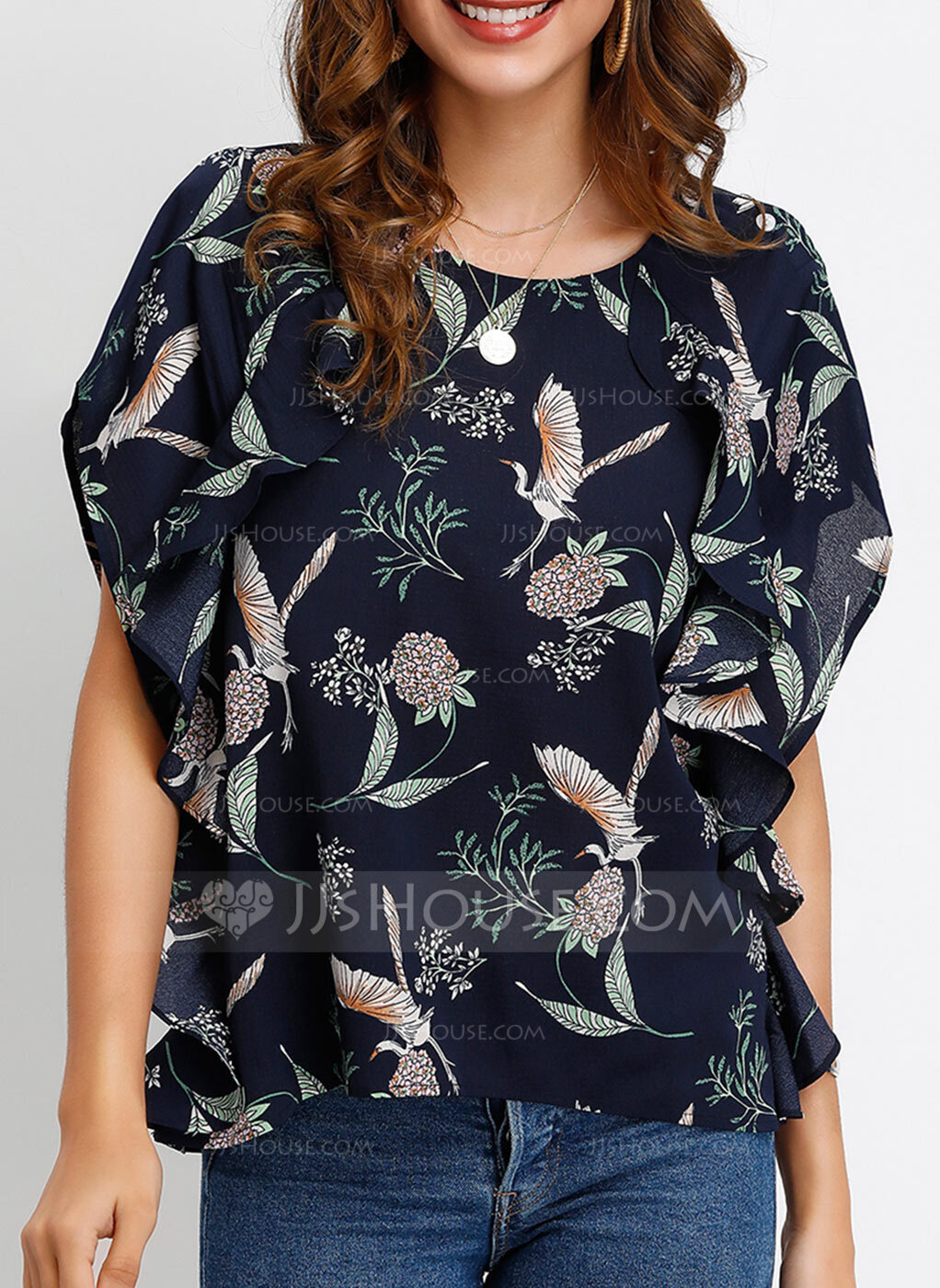 Short Sleeves Batwing Sleeves Polyester Round Neck Blouses
