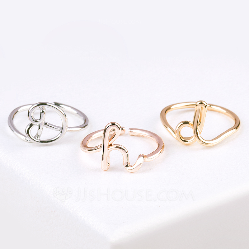 Bridesmaid Gifts - Personalized Eye-catching Alloy Initial Jewelry Ring
