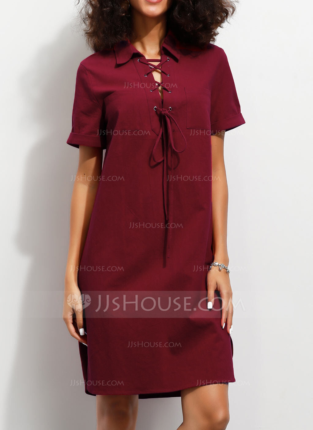 Cotton With Solid Knee Length Dress