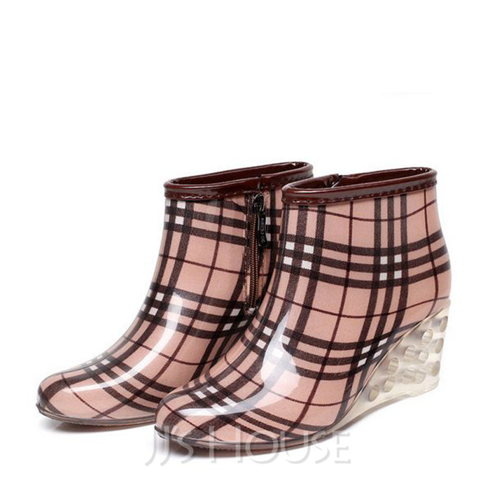 Women's PVC Wedge Heel Boots Mid-Calf Boots Rain Boots With Others shoes