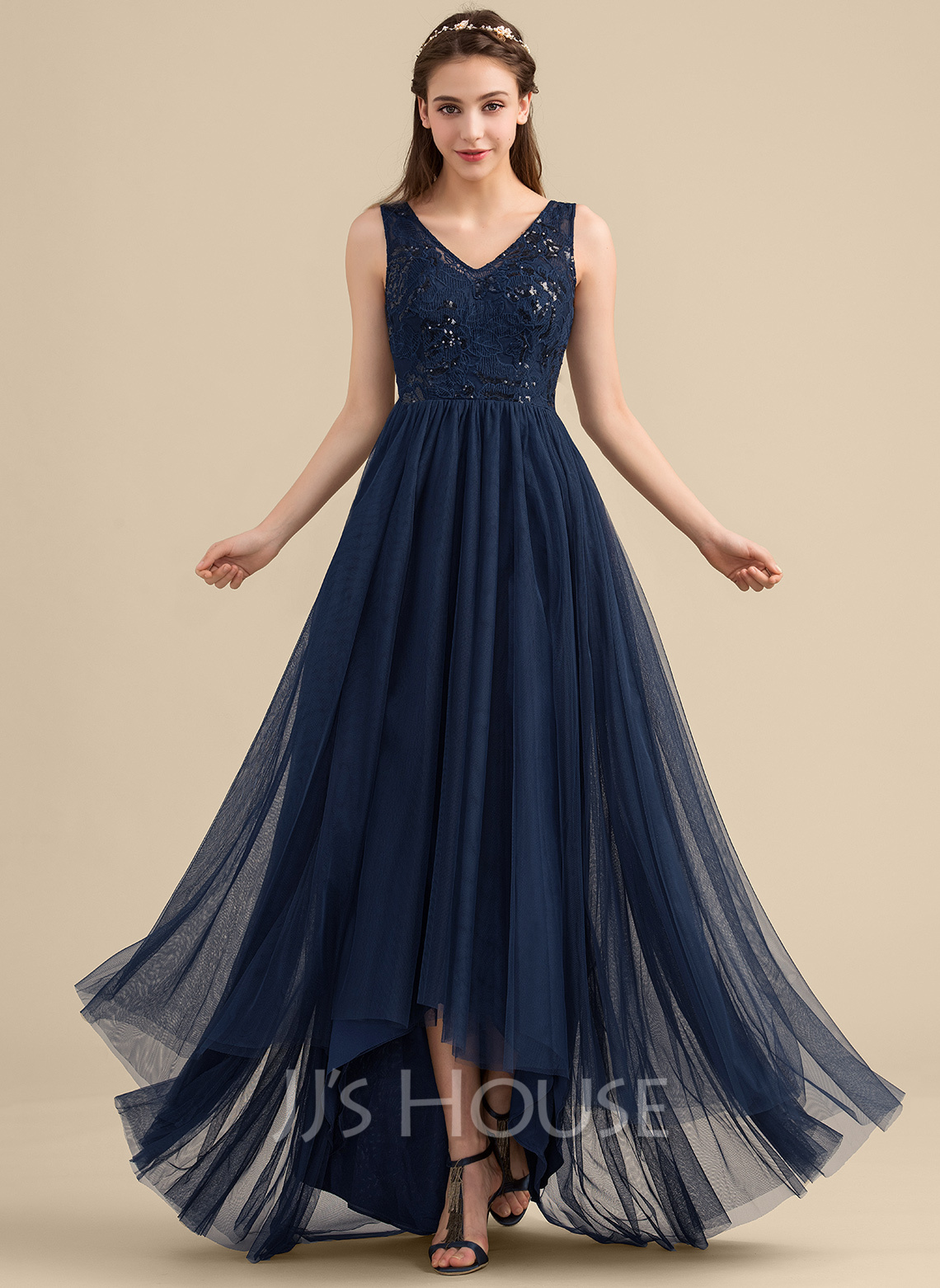 ec00eb5f0a A-Line Princess V-neck Asymmetrical Tulle Lace Bridesmaid Dress With  Sequins. Loading zoom