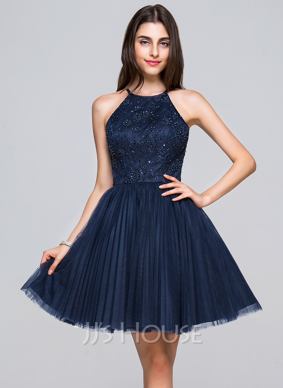 3beac12731e A-Line Princess Scoop Neck Short Mini Tulle Lace Homecoming Dress With  Beading. Loading zoom