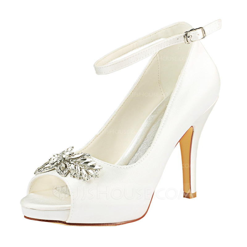 550ed543640c Women s Silk Like Satin Stiletto Heel Peep Toe Pumps With Crystal. Loading  zoom