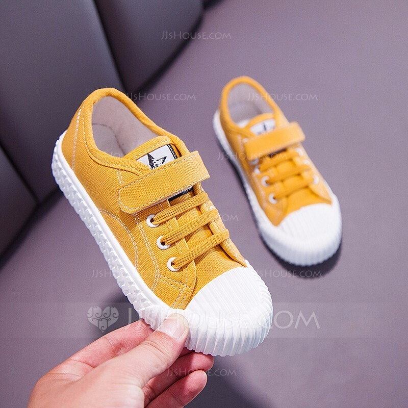 Unisex Round Toe Closed Toe Canvas Flat Heel Flats Sneakers & Athletic With Velcro Lace-up