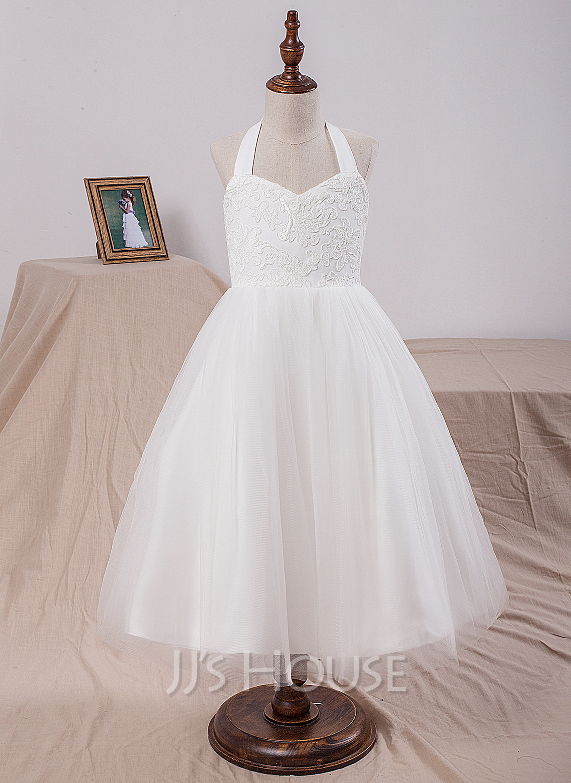 A-Line/Princess Tea-length Flower Girl Dress - Satin/Tulle/Lace Sleeveless Halter