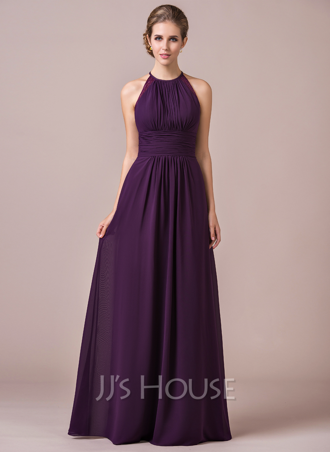 A Line Princess Halter Floor Length Chiffon Bridesmaid Dress With Ruffle Lace Loading Zoom
