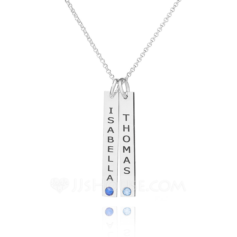 Custom Sterling Silver Name Double Birthstone Necklace Bar Necklace With Birthstone - Birthday Gifts Mother's Day Gifts