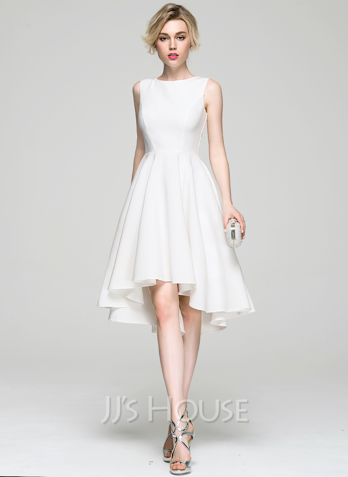 A-Line/Princess Scoop Neck Asymmetrical Satin Cocktail Dress ...
